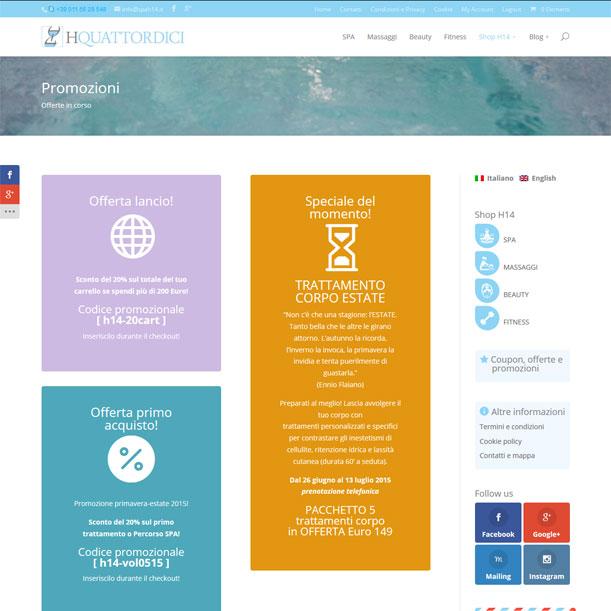 Sito Web - SPA H14 - Pagina delle promozioni