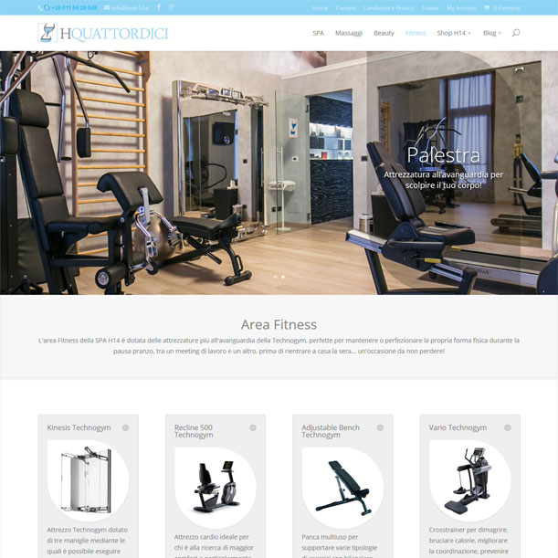 Sito Web - SPA H14 - Pagina area fitness