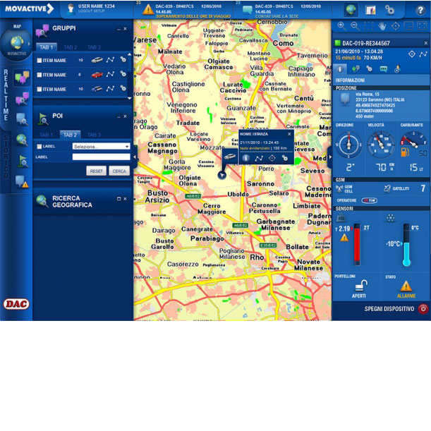 Piattaforma Web Unique - MOVACTIVE SPA - Interfaccia grafica dell'applicazione di telegestione e telecontrollo