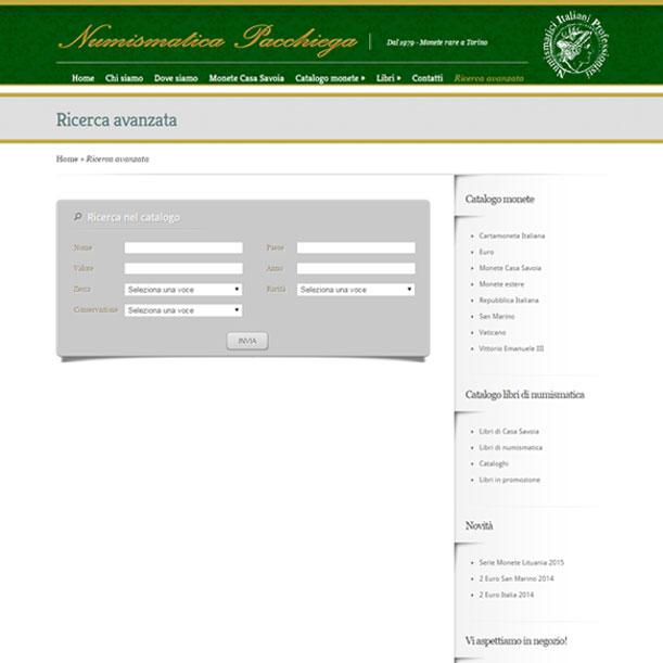 Sito Web - Numismatica Pacchiega - Pagina della ricerca avanzata
