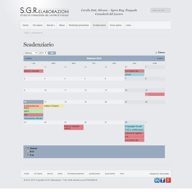 Sito web - SGR Elaborazioni - Pagina calendario scadenze