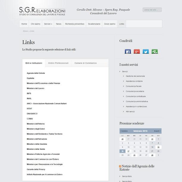 Sito web - SGR Elaborazioni - Pagina Link utili