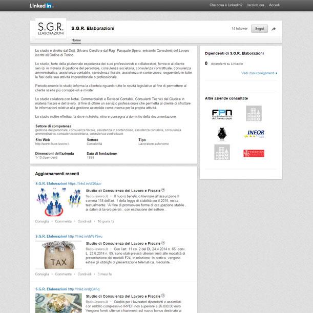 Sito web - SGR Elaborazioni - Pagina LinkedIn