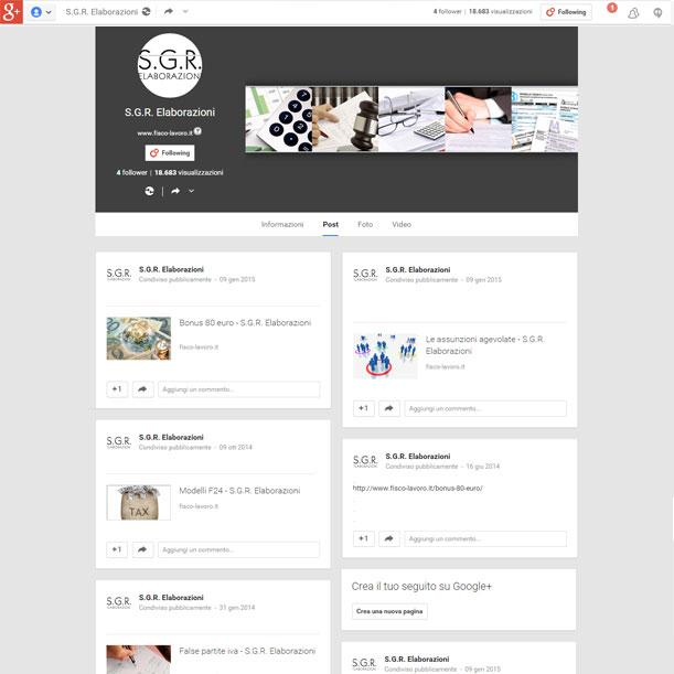 Sito web - SGR Elaborazioni - Pagina Google+