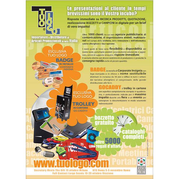 Studio grafico - Pagina pubblicitaria - TUOLOGO SRL